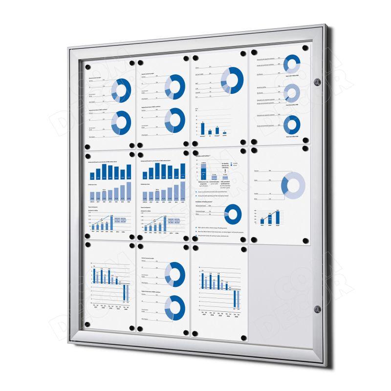 Notice board with glass door