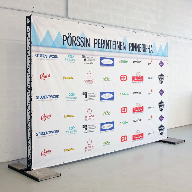 Photo wall / photo background - X15 + PVC + concrete weights